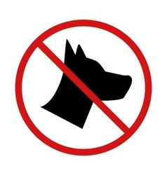 No Dogs allowed forbidden sign on white vector