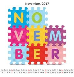 November 2017 puzzle calendar vector