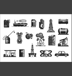 oil production set icons vector image