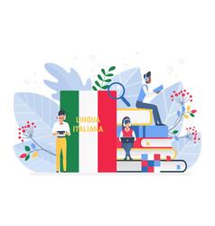 Online italian language courses flat vector