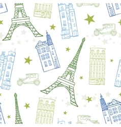 Paris Streets Blue Green Drawing Seamless vector