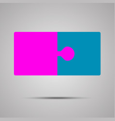 Pink blue piece puzzle jigsaw 2 step vector