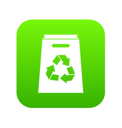 recycle shopping bag icon digital green vector image