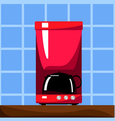red coffee machine with black pot vector image vector image
