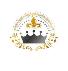 Royal crown emblem heraldic coat arms vector