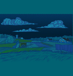 rural landscape night view houses light in the vector image