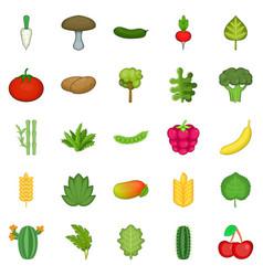 Salad icons set cartoon style vector