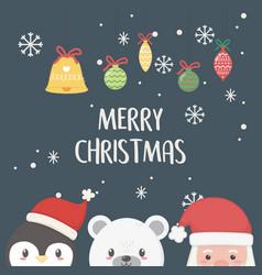 Santa penguin and polar bear merry christmas card vector
