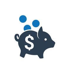 Savings piggy bank icon vector