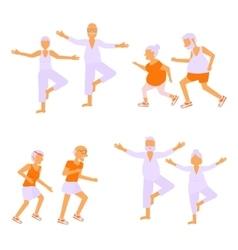 Set of Elderly people doing exercises vector