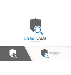 shield and loupe logo combination safe vector image