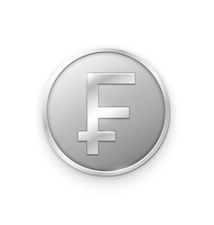 Silver coin with franc sign vector