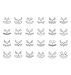 spooky halloween face outline icon editable stroke vector image