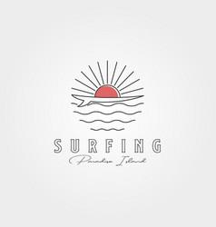 surf line icon logo symbol design and sunset vector image