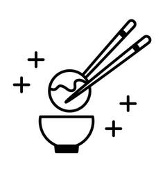 sushi oriental menu octopus ball sticks and bowl vector image