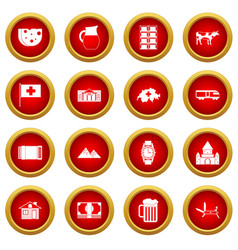 Switzerland icon red circle set vector