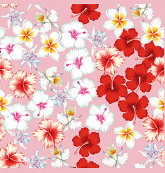 Tropical flowers pattern seamless pink background vector