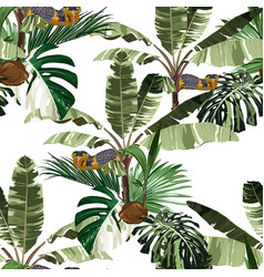 tropical vintage palm trees seamless pattern vector image