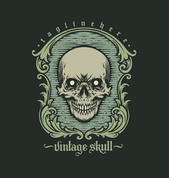 vintage skull engrave style decorative vector image