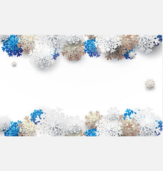 white gold and blue snowflakes background vector image