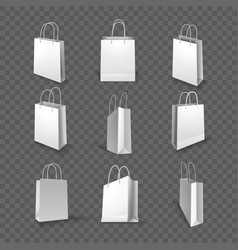 white paper bag cardboard pack for shopping vector image