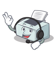With headphone printer mascot cartoon style vector