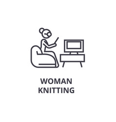 woman knitting thin line icon sign symbol vector image