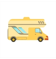 Yellow Travel Van Family Motorhome Flat Colorful vector