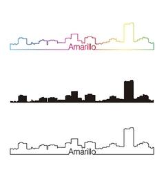 Amarillo skyline linear style with rainbow vector image vector image