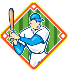 American Baseball Player Batting Diamond Cartoon vector image vector image