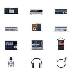 audio electronics icon set vector image vector image