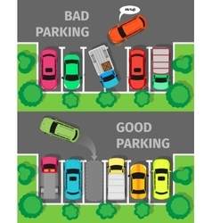 Bad and Good Parking Top View vector image vector image