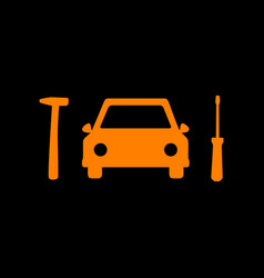 car tire repair service sign orange icon on black vector image