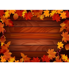 Grunge background with wooden planks autumn leaves vector