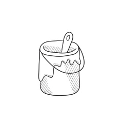 Paint brush in the paint tin sketch icon vector image vector image