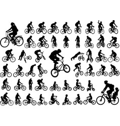 50 high quality bicyclists silhouettes collection vector image