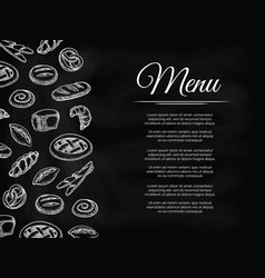 chalkboard menu background with bakery products vector image vector image