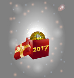 christmas gift box and disco ball background 2017 vector image vector image