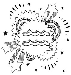 doodle pop astrology aquarius vector image