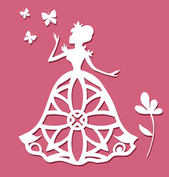 paper carving princess with butterflies and flower vector image