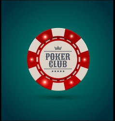 red white casino poker chip with luminous vector image vector image