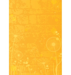 Yellow background with dandelions vector image vector image