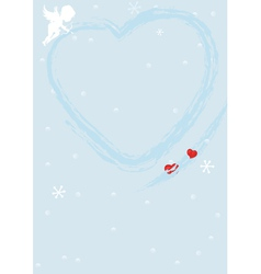 Blue valentine background with heart vector image vector image