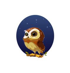 digital funny cartoon owl vector image