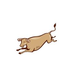 Bull Cow Jumping Cartoon vector image vector image