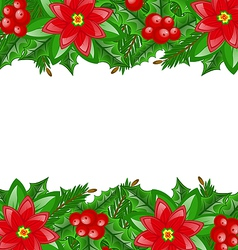 Christmas decoration with holly berry and vector image