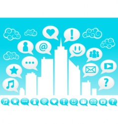 city social icons vector image