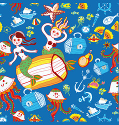 doodle kids sea animals seamless pattern vector image vector image