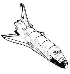 doodle space shuttle vector image