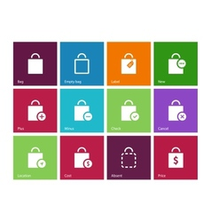 Shopping bag icons on color background vector image vector image